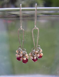 Hammered Silver & Wire Wrapped Fresh Water Pearl Cluster Earrings - Wire Jewelry