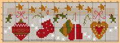 Cross Stitching Christmas Garland / Kreuzstich Weihnachten Girlande Freebie Vorlage