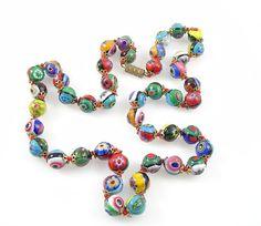 Vintage Millefiori Glass Bead Necklace by VintageGemz on Etsy, $40.00