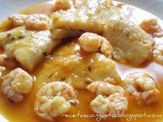 Ingredientes : filetes o rodajas de merluza, gambas o langostinos, fumet de pescado : (1 cebolla, 1 puerro, 2 tomates, 1 zanahoria, la cab...
