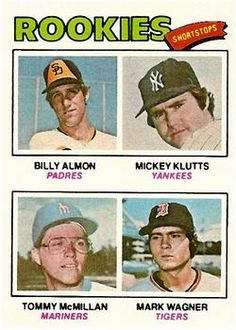 1977 Topps #490 Rookie Shortstops - Billy Almon / Mickey Klutts / Tom McMillan / Mark Wagner Front