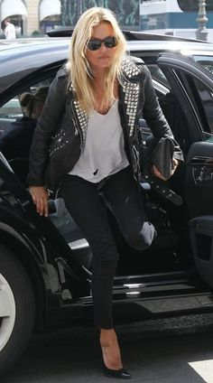 black leather jacket, white v T, black skinnies, black pointy pumps.