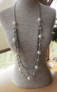 Long Pearl Necklace Opera Length Necklace Rope por hookandline