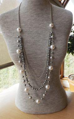 Long collier, collier longueur opéra, corde perle collier, collier de perles, collier de perle cristal