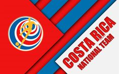Download wallpapers Costa Rica national football team, 4k, material design, emblem, North America, red blue abstraction, Costa Rican Football Federation, logo, football, Costa Rica, coat of arms