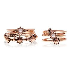 Baroque Stack Ring Set - Rose Gold