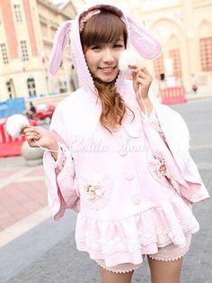 Lolitashow Pink Lolita Mantel Kawaii Tier Haube Rüschen Lace Trim Wolle Lolita Mantel Pom Poms Rabit Lolita Cape