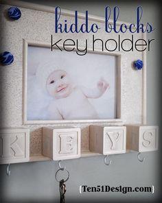DIY ABC Blocks Key Holder. CUTE!