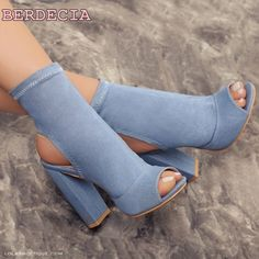 92.00$  Watch now - http://alij2w.shopchina.info/1/go.php?t=32809648678 - Elastic material blue sandal boots ladies open toe ankle boots woman shoes chunky heel elegant female shoes summer short boots 92.00$ #bestbuy