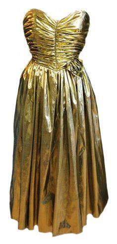 Vintage 1980s Gold Shimmer Party Prom Dress Size 10