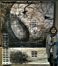 Organic Drawing- 6'x 8' mixed media ( tape transfers, xerox copies, white/black ink on mulberry paper) Phyllis King