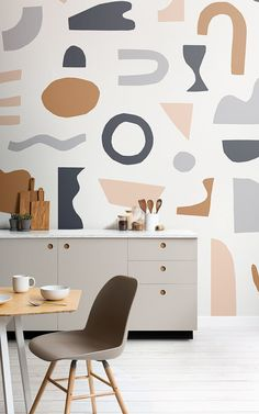The Naive Shapes wallpaper collection is inspired by Matisse cutouts, featuring trending colours and refreshing cutout shapes. The wallpapers have a minimalist, Scandinavian decor feel and will give a kitchen, hallway, living room or any space in the home Unusual Wallpaper, Normal Wallpaper, Standard Wallpaper, How To Hang Wallpaper, Of Wallpaper, Modern Interior, Interior Styling, Interior Design, Abstract Shapes