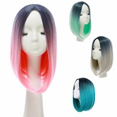 """14"""" Heat Resistant Synthetic Gradient Color Cheap Hair Wig Ombre Medium Long Straight Silk Lace"""