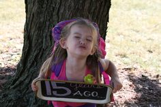 A little different twist on the back-to-school pic. Have your child hold a sign up with the # of years until high school graduation. Take a pic every year with the new # & you'll have some cool options to work with for senior pictures & graduation party displays.