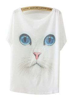 """cat wine t shirt - White Cotton T-shirt Batwing Sleeve with Print \""""Blue-eyed Cat\"""" for size 6 8 ** Check this awesome product by going to the link at the image. (This is an affiliate link) #CatWine"""