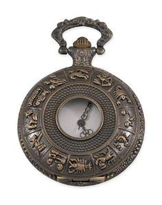 Mens Pocketwatch - Antique Gold Zodiac Design