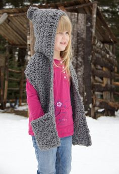 Crochet Hooded Scarf with Pockets Bulky Yarn Size by EweMadeNew yarn crochet patterns shawl free knitting Crochet Hooded Scarf with Pockets Crochet Kids Scarf, Crochet Hooded Scarf, Crochet Girls, Crochet Scarves, Crochet For Kids, Crochet Shawl, Crochet Yarn, Crochet Clothes, Free Crochet