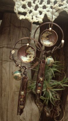 Rhyming Couplet  Mixed Media Earrings by AlteredAlchemy on Etsy