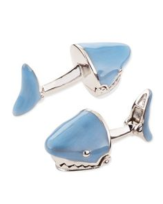 Movable Shark Face Cuff Links, Light Blue  by Jan Leslie at Neiman Marcus.