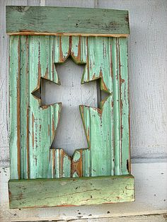 Recycled Wood Cross Shutter woodenaht on etsy