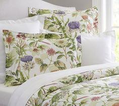 Thistle Floral Print Organic Duvet Cover & Sham | Pottery Barn    $39.50 – $159