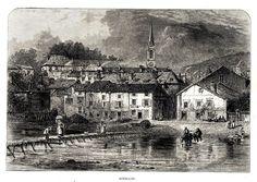 Antique print Bouillon Belgium 1880 gravure