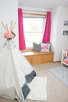 DIY Teepee Kit customized by Jen Evans from Create Often Diy Teepee, Bold Colors, Home Organization, Evans, To My Daughter, Toddler Bed, Nursery, Kids Rugs, Kit