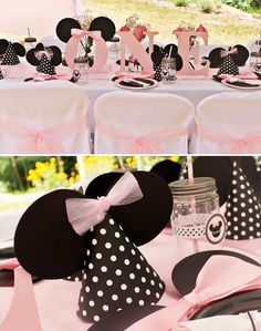 Minnie Mouse Themed Birthday Party: Black, Pink, and White Minnie Mouse Party Decor and Table Setup