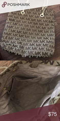 3a8d78e887d7a Michael Kors Jet Set Tote Tan with sparkly gold 15x14x4. Gold  genuine-leather handles 9