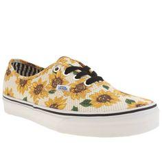 womens vans white & yellow authentic sunflower trainers