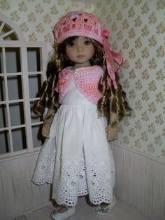 Crochet set for Dianna Effner Little Darling 13 inches doll including:  - hat, - bolero.   All items are handmade and embroidered.  This listing…