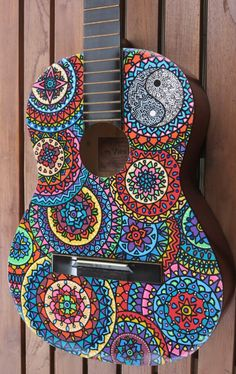 Colorful Kaleidoscope Inspired Patterns (Custom Hand Painted Guitars by SaltyVibesArtwork on Etsy) Ukulele Art, Guitar Art, Cool Guitar, Painted Ukulele, Painted Guitars, Arte Sharpie, Taylor Guitars, Guitar Painting, Mosaic Projects