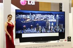 The trio fancy curved screen TVs LG