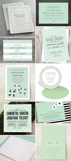 Tarjetas de invitacion en verde menta - Mint Green Wedding Invitations