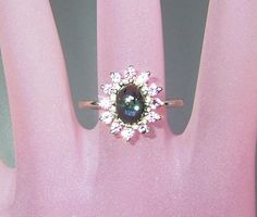 Cabochon Indicolite Tourmaline Pink Sapphire Halo Ring Sterling Silver by Gemsbygigialonia on Etsy