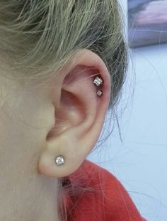 I swear it's princess cut day! Here's two more (and I just did a set of lobes with them) in fresh helix piercings.