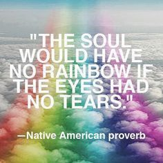 The soul would have no rainbow if the eyes had no tears.