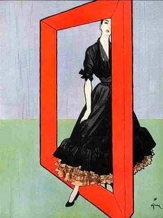 Fashion illustration by Rene Gruau, 1947, via Karl von EDELBERG