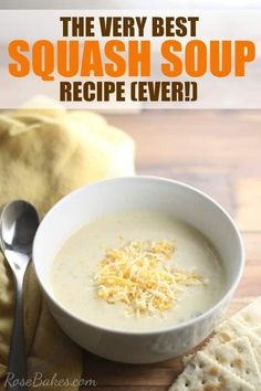 Made with yellow squash from the garden, this Best Squash Soup Recipe is semi-homemade soup that includes some cream of this and cream of that soups and lots of Velveeta cheese. It has a chowder-like quality that is jam packed with flavor and a super creamy texture.  As the weather cools down and Fall is upon us, this soup will keep you warm and going back for more. You're going to love it!   #soup #squash #squashsoup #cheesy #fallsoup