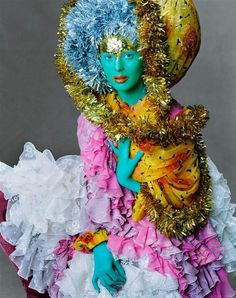 club-kid exhibitionism meets Bollywood when Karen Elson dressed up in this colorful look by John Galliano, with makeup by Pat McGrath. Photographed by Steven Meisel, Vogue, September 2003 Image Fashion, Foto Fashion, Fashion Art, Fashion Pics, Fashion Shoot, Street Fashion, John Galliano, Leigh Bowery, Steven Meisel