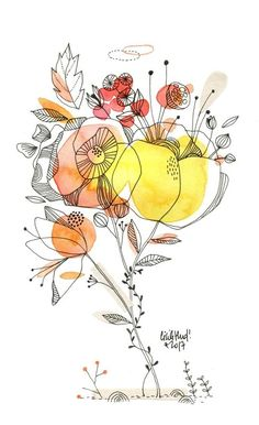 Flower watercolor illustration~ By Cecile Hudrisier Being a youngsters illustrator, or possibly a kids e Art And Illustration, Watercolor Illustration, Flower Illustrations, Portrait Illustration, Fashion Illustrations, Art Floral, Watercolor And Ink, Watercolor Flowers, Art Sketches