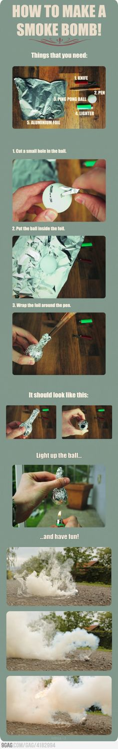 How to make a smoke bomb. Useful for a getaway or signaling over med ranges.