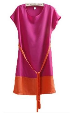 Rose Red Short Sleeve Sashes Chiffon Dress pictures
