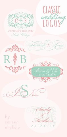 classy, elegant #wedding logos in inspirational pink and mint!