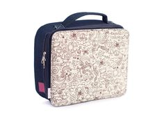 denim lunch bag with charming school doodles print perfect for #backtoschool