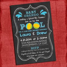 Printable Pool Party Coed Baby Shower Chalkboard by PuzzlePrints, $15.00