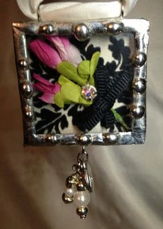 Soldered Pendant, Shadowbox Pendant, this would be the best way to receive flowers from your sweetheart. They would last forever and you could show them off!