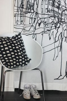 Via Perhraetc | Pillow Elefant design by Estrid Ericson for Finlayson | Black & White, Scandinavian, Nordic