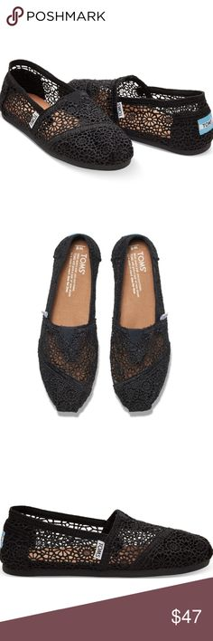 JUST IN🔶️ ➕(12) Tom's Crochet Slip Ons Tom's are my favorite! I think I own at least 10 pairs! So comfortable and cute. These are airy and perfect for spring summer days especially when you haven't had a fresh pedicure! Elastic gore and EVA rubber outsole. Toms Shoes