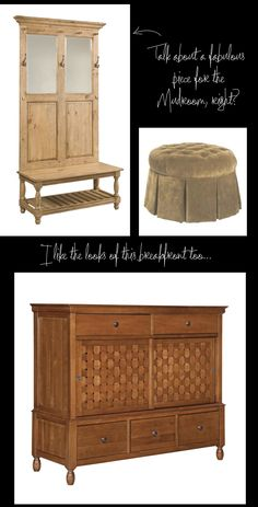 Love Amy's take on putting some unique solid wood pieces in the mudroom. Woodworking Blueprints, Woodworking Plans, High Point Market, Solid Wood Furniture, Wood Pieces, Mudroom, Ideal Home, Hardwood, Storage